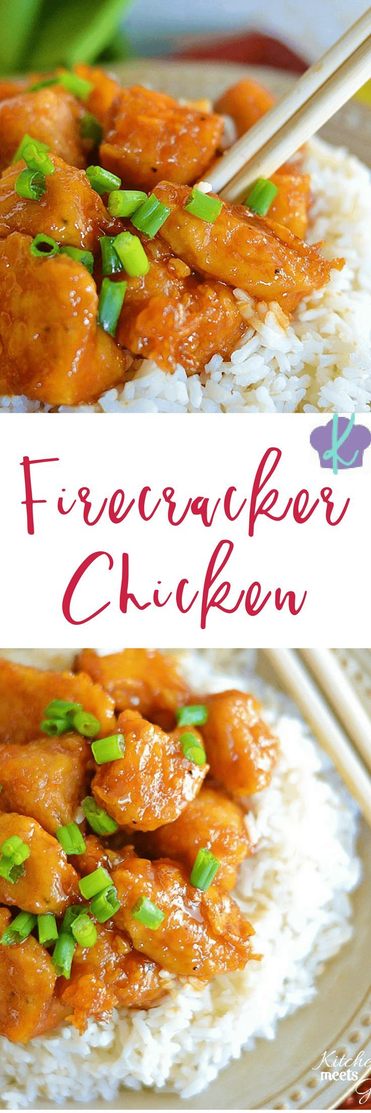 This Firecracker Chicken is the perfect mix of spicy and sweet and beats take-out hands down! | chicken recipes | sweet and spicy chicken | homemade chicken recipes | sweet and spicy recipes | how to make firecracker chicken || Kitchen Meets Girl