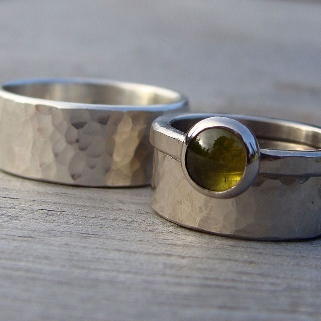 skinnt engagament ring and thick wedding band. in sterling silver.