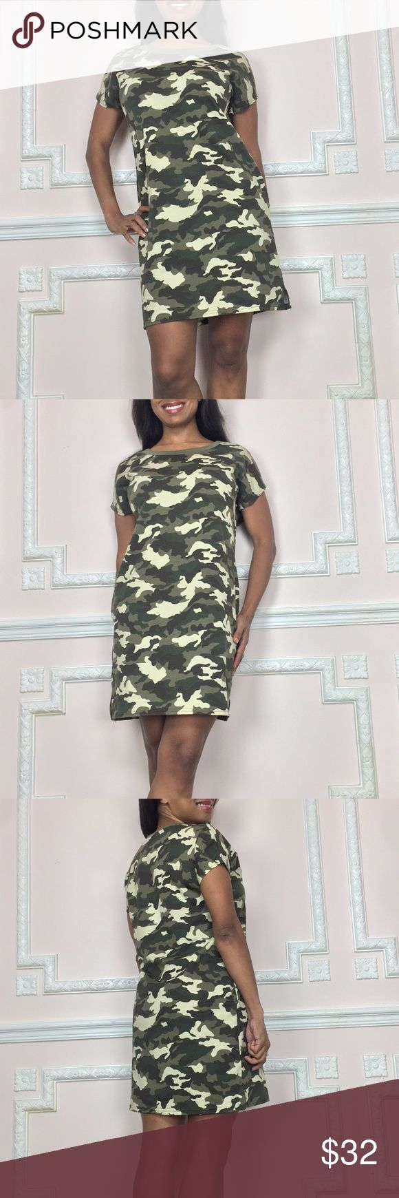 NEW cute camo tee shirt dress FOLLOW my closet- New styles DAILY! Color: Olive Green, Green, Beige, Black  Fabric:Polyester Blend  Length:Approximately 25 inches from underarm to bottom hem  Size Small is designed to fit sizes 2;3; or 4 Ssgc51 From SEXYSNOB.com ! SexySnob.com Dresses Mini