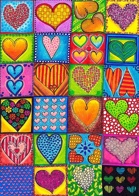 "Original Drawing - Romantic Heart Tiles - 8.5x12"" up to 24x34"" Art Print, Wall Decor, Illustration"
