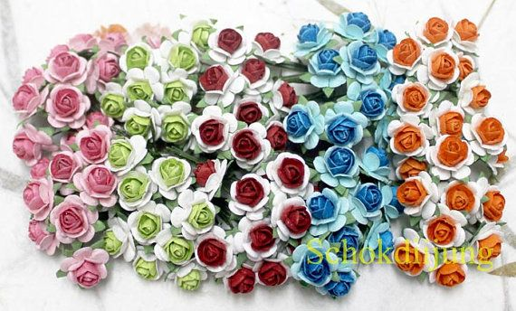 100 Mix 5 colour Mulberry Paper Roses Artificial Flower 1.5cm scrapbook,Wedding B2