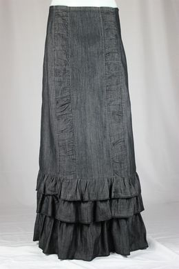 Margot Denim Ruffles Layered Long Jean Skirt - The Skirt Outlet