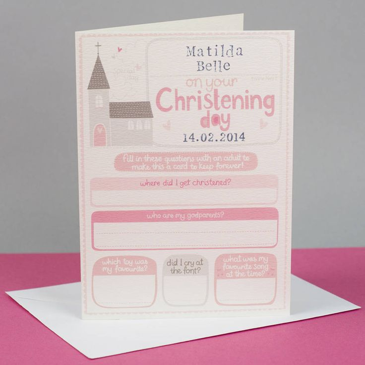 Personalised Girls Christening Keepsake Card