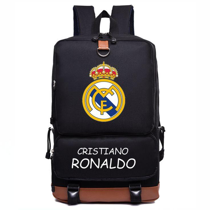 Real Madrid Black Soccer Backpack Ronaldo