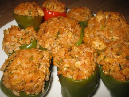 Ingredients  6 green Bell Peppers (for stuffing) 2 lbs. Ground Beef 2 lb. Shrimp, chopped (uncooked) 1 lb. lump Crab Meat 2 stalks Celery, chopped 2 Onions, chopped 1 Bell Pepper, chopped 2 Tbsp. f...