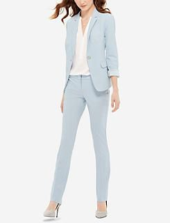 Light Blue Drew Collection Simply Straight Pants & Two Button Jacket