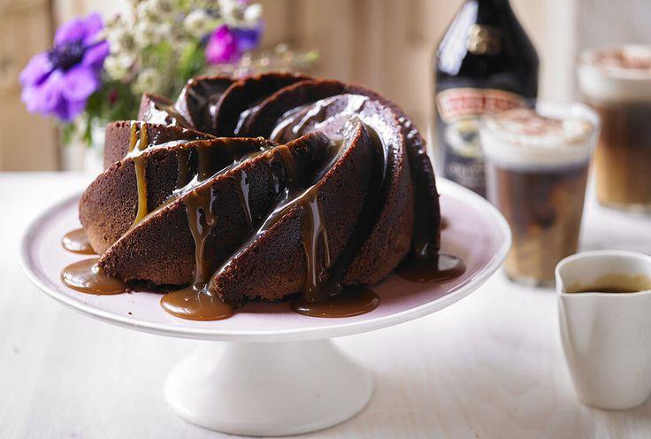 Chocolate bundt cake with Baileys caramel sauce