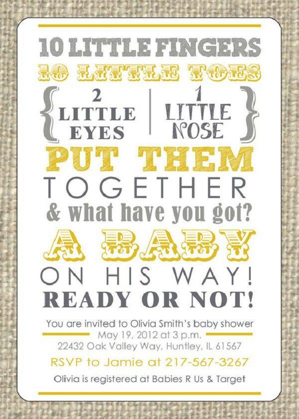 Nursery rhyme themed baby shower invitation