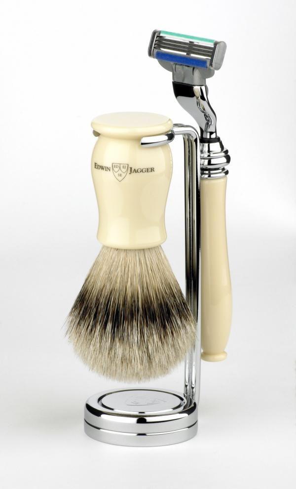 3 Piece Imitation Ivory Edwin Jagger Shaving Set