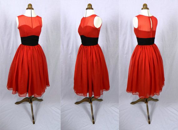 A 50s inspired ruby red chiffon rock ability by elegance50s, $295.00