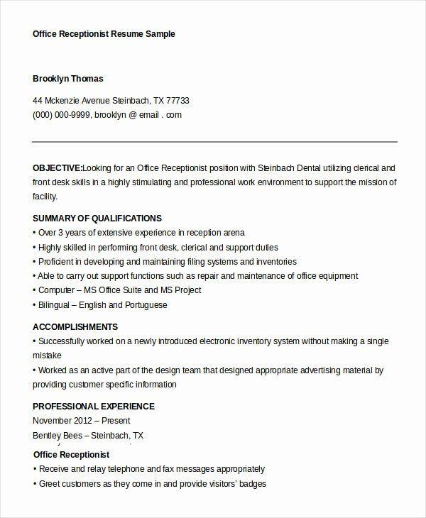 Front Desk Job Description Resume 2 Best Of 10 Receptionist Resume Templates Pdf Doc In 2020 Job Resume Samples Resume Examples Receptionist Jobs