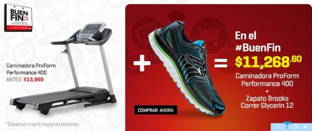 Ofertas Buen Fin: Caminadora ProForm + Zapato Brooks a solo $11268.6, en Martí. Buen Fin, del 14 al 17 noviembre de 2014. #Promo #BuenFin