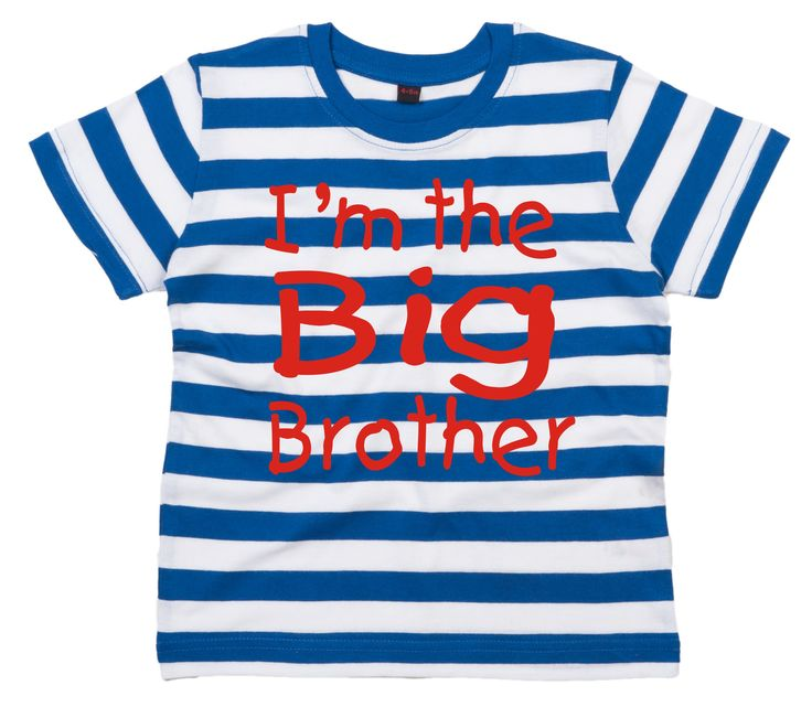 I'M THE BIG BROTHER Children's Blue & White Striped T-Shirt. This new design is printed onto our great quality new striped t-shirts. The t-shirts are made of 100% Cotton and have a crew neckline. This Edward Sinclair design is available from Edward Sinclair on Amazon. © Edward Sinclair 2014