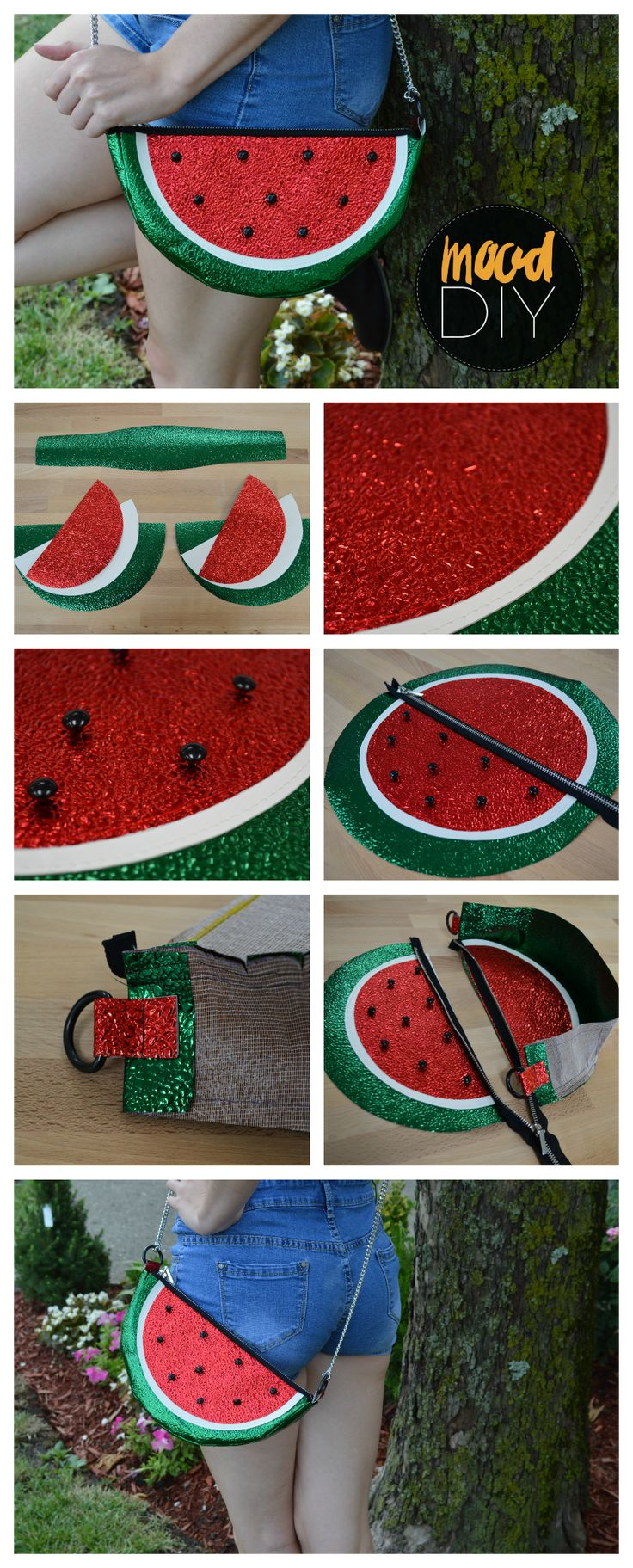 Mood DIY: How to Sew a Watermelon Purse | Fruit prints and accessories have been one of the cutest trends this summer, so today I made the shiniest watermelon purse on Earth. I love it.