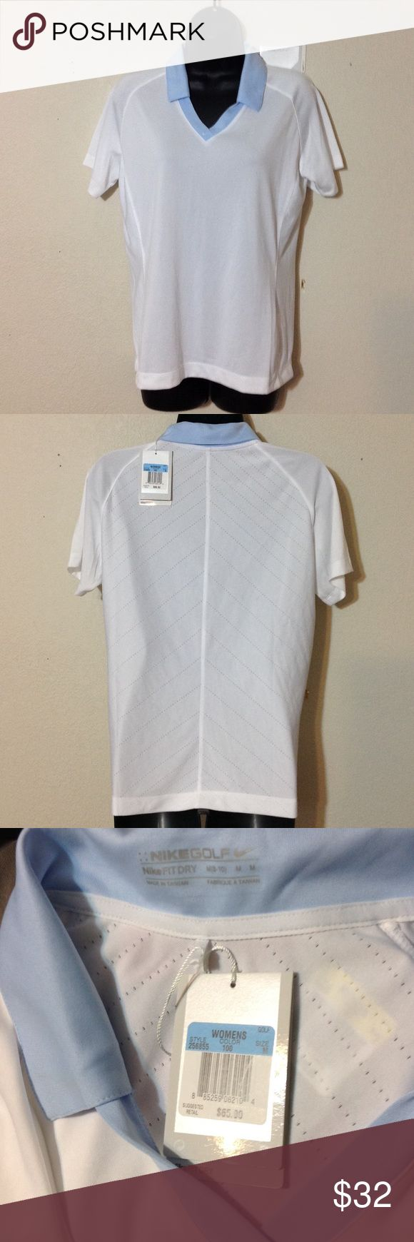 NikeGolf Dri-fit white with blue collar golf top NWT Nike FitDRY women's pullover golf polo, imagine yourself at the top of the tee box when you swing and hear that perfect ping, now imagine your follow thru swing with this shirt elegantly blowing in the wind off your confident stride Nike Tops