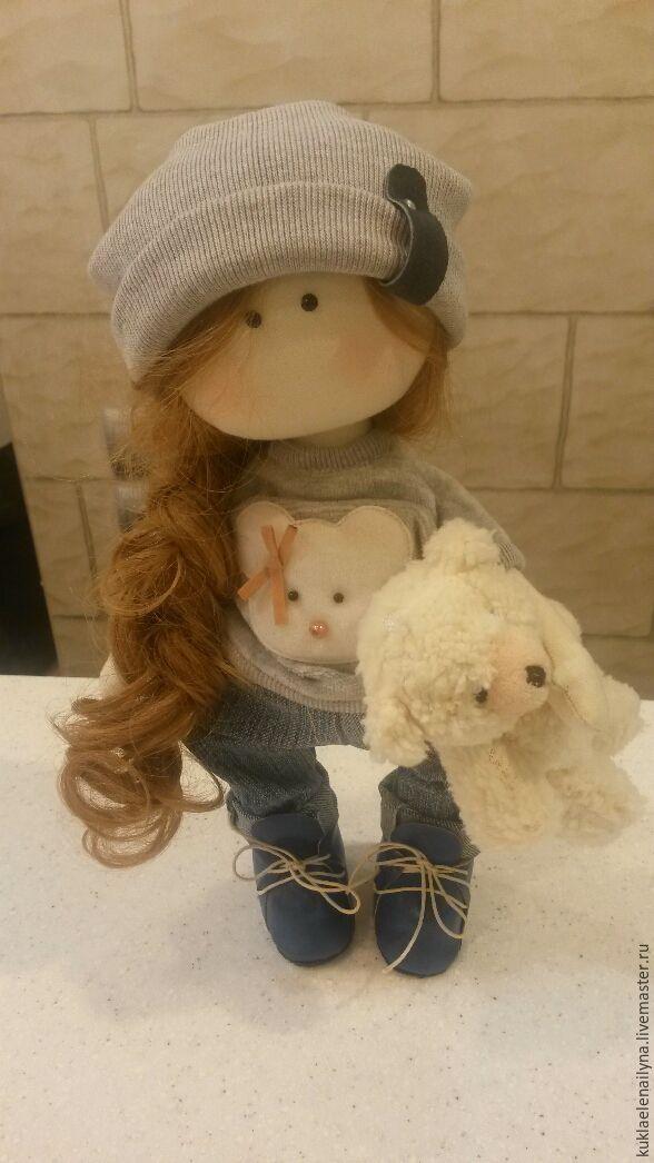 Купить интерьерная текстильная кукла - серый, голубой, белый, кукла ручной работы, кукла