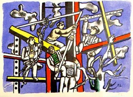 Fernand Leger Construction Workers 1950 gouache on paper 56 x 76cms