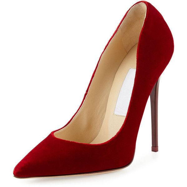 Jimmy Choo Anouk Velvet High-Heel Pump ($630) ❤ liked on Polyvore featuring shoes, pumps, heels, chaussures, high heels, red, stiletto pumps, red heel pumps, red pointy toe pumps and red pumps