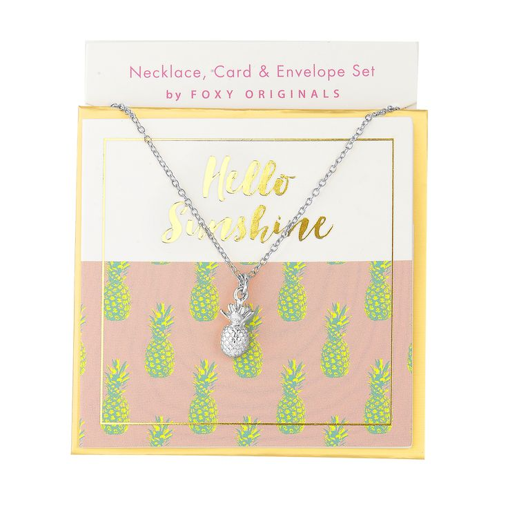 Hello Sunshine Sweet Notes Necklace in Silver - available in gold and silver. $24.00. Get 25% off this necklace with coupon code 'foxypin' @ foxyoriginals.com, #silvernecklace, #shortnecklace, #silverjewelry, #charm,  #jewelrygift, #gift, #birthdaygift, #teenagergift, #pineapplenecklace #nickelfree #leadfree #madeinCanada