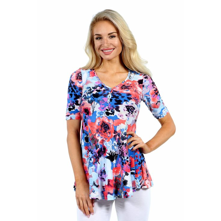 24/7 Comfort Apparel Country Club Casual Tunic Top