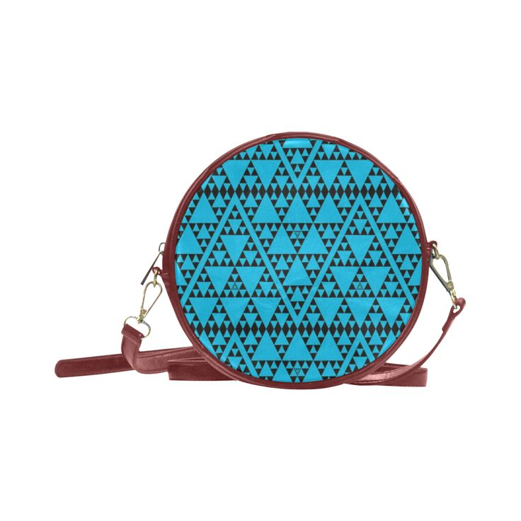 triangles in triangles pattern blk blue Round Sling Bag (Model 1647)