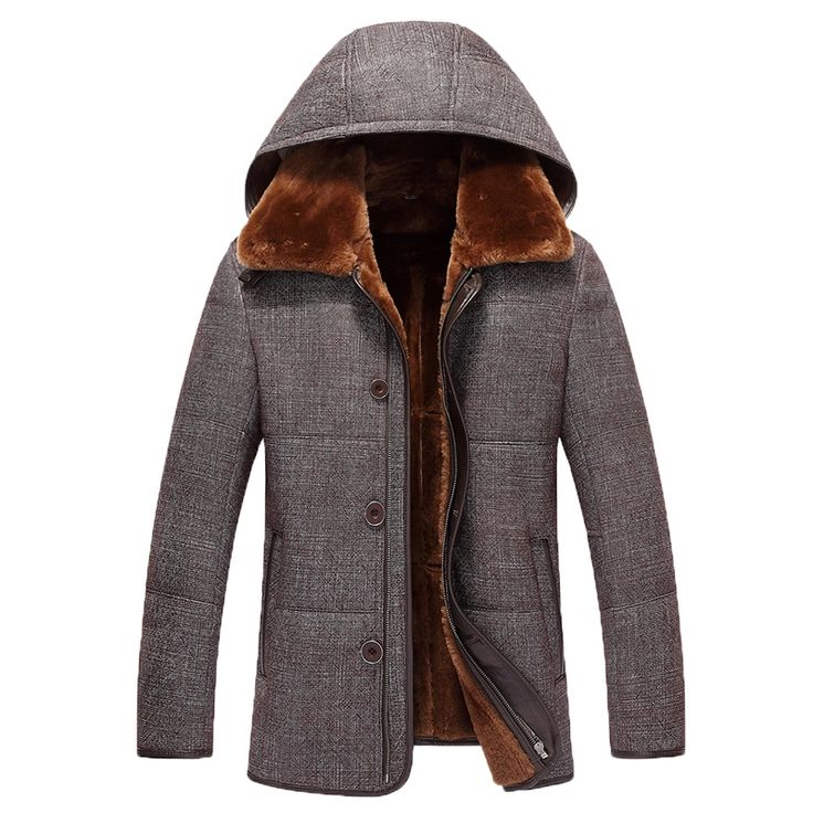 Men's Shearling Coat Mens Hooded Genuine Leather Jacket Mens Flight Jacket Pilot Leather Jacket Outerwear