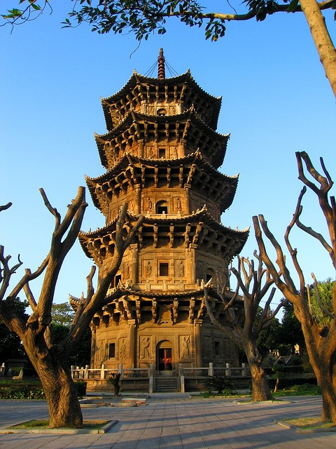 Quanzhou China: Zhenguo Pagoda - One of the twin, 40 meter high, stone pagodas at Kaiyuan Temple. Tallest stone pagodas in China. // been there.