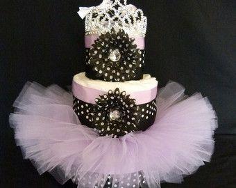 Baby Girl Gift Tutu Cheetah Pink Diaper Cake Newborn por mamabijou