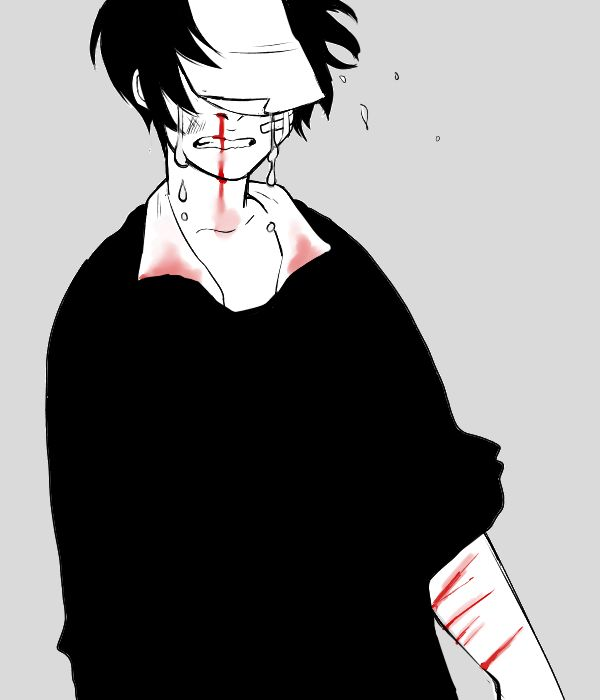 Bloody anime boy Guro self harm
