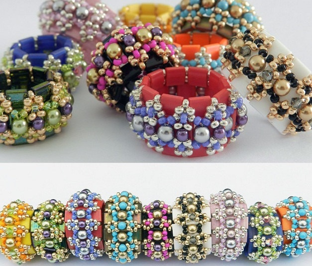 """Dilly Tilly beaded beads are made up of a combination of beautiful Miyuki Tila beads, Miyuki seed beads size 11, pearls and crystals. They are fun and """"oh"""" so pretty and easy to bead.   There are two sizes for this beaded bead and both are included in the tutorial."""