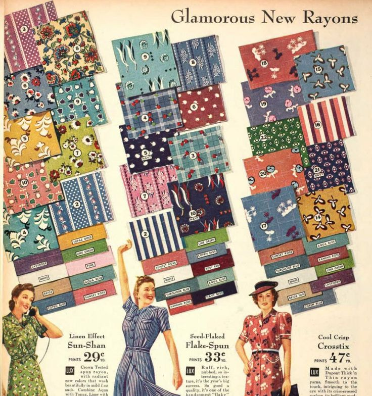 1940s rayon fabric swatches