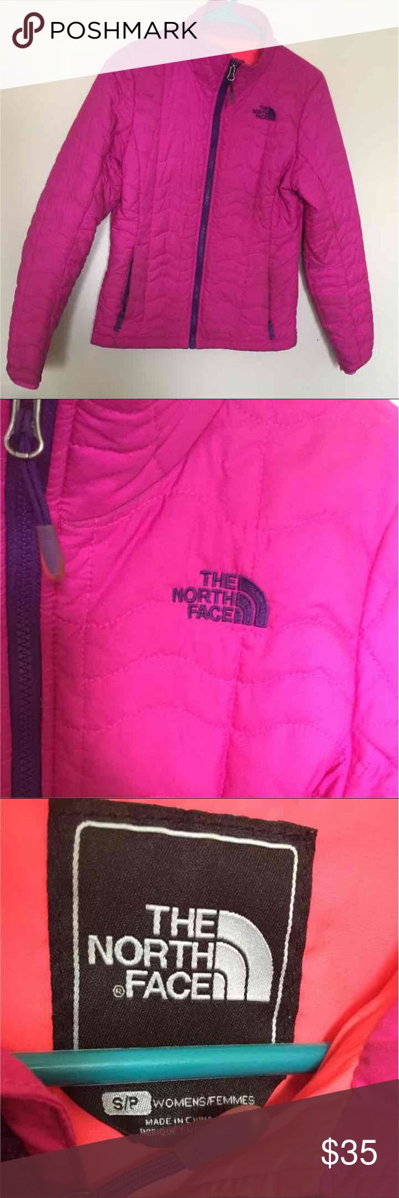 Pink Authentic North Face light jacket Pink North Face jacket light weight used but still in good condition. Wouldn't hurt to dry clean it. Wrist color sturdy. Back and from hook still intact. Logos still fresh. Stitching still tight North Face Jackets & Coats