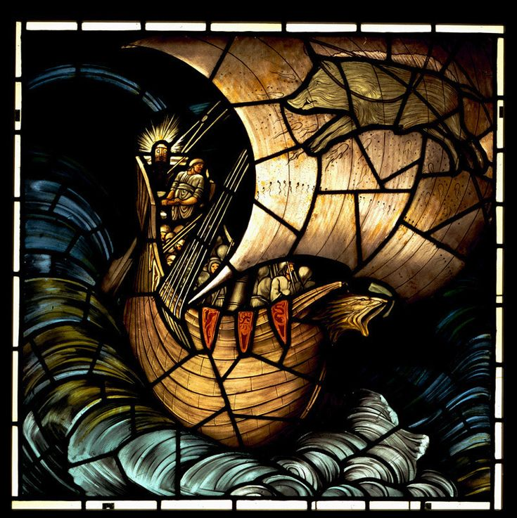 The Viking Ship, stained glass panel by Edward Burne-Jones (1833-1898)