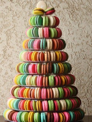 In lieu of a traditional wedding cake, Natalie Portman and her husband had vegan French Macarons. Love this idea!!