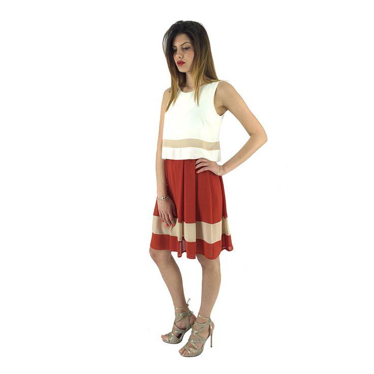 Vestitino rosso e panna Rue 45 001