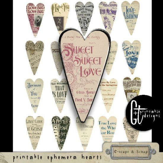 GTPD PRINTABLE EPHEMERA HEARTS