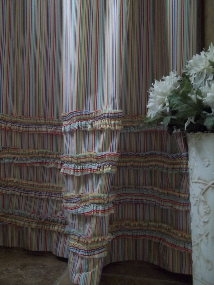Shabby Chic   Cottage  Beach   Washed Cotton Ruffles In Multi Colored  Stripes Shower Curtain