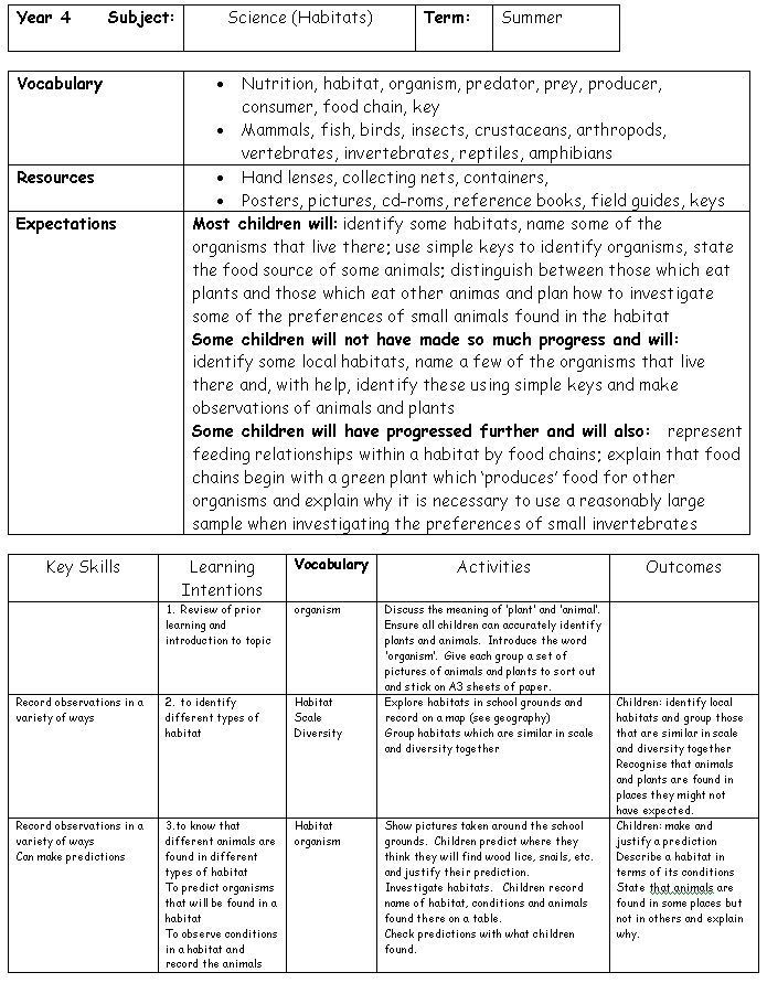 Creative curriculum planning - Sample plans showing one school's ...