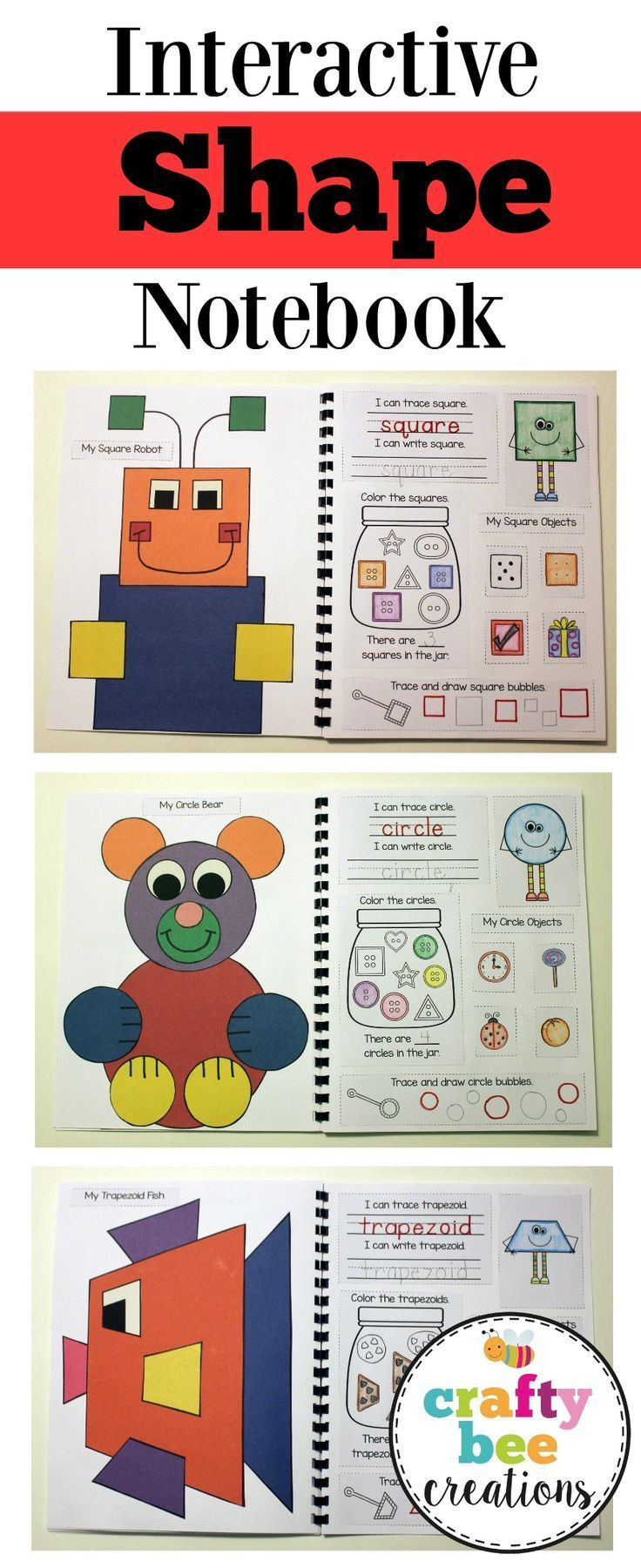Super fun shape interactive notebook that includes patterns and directions to make 14 different shapes.  Students will work with one shape at a time and work on their shape recognition.  It's a great portfolio to give to parents at the end of the year and
