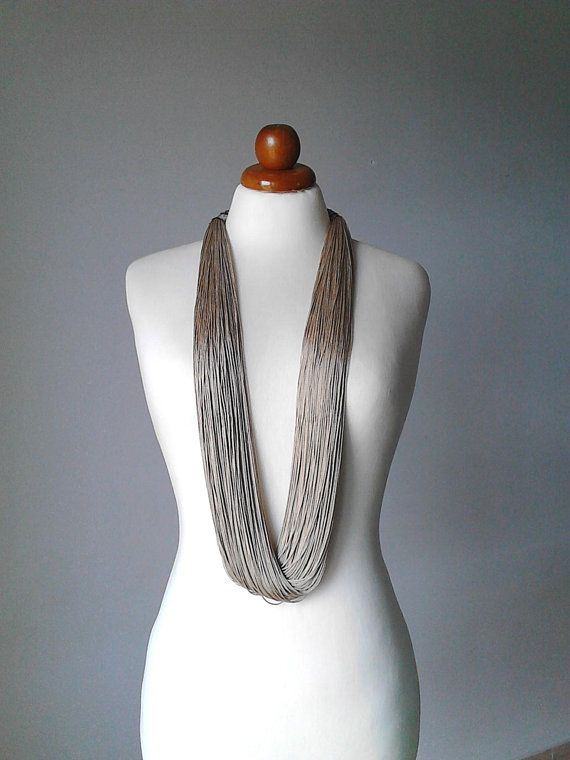 Multi strand necklace long statement necklace fiber necklace silk necklace long multi strand necklace silk jewelry contemporary necklace