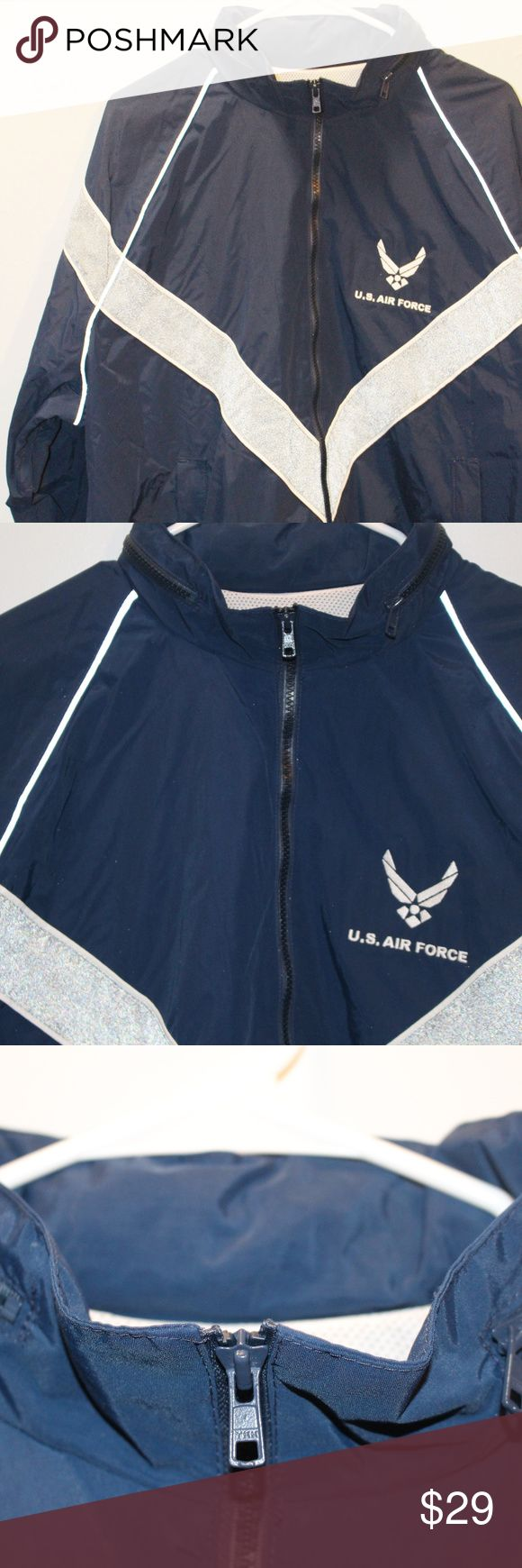 Air Force Jacket Sz Lg Skilcraft Men's Skilcraft Air Force Jacket.  Official.  Size Large.  Men's.  Could be unisex however.  Navy with a gray stripe running around jacket.  This is a jacket/windbreaker.  Please see photos.  Excellent condition. Air Force Jackets & Coats Windbreakers