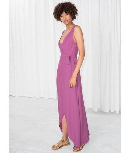 22d262fe99 8 Summer Party Dresses That Only Look Expensive. And Other Stories Maxi  Wrap Dress | This rich pink maxi dress, with its side tie, deep-V back, ...