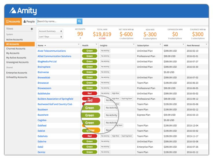 Amity provides a single, shared, customizable database for all of the accounts, subscriptions, and relationships you manage.
