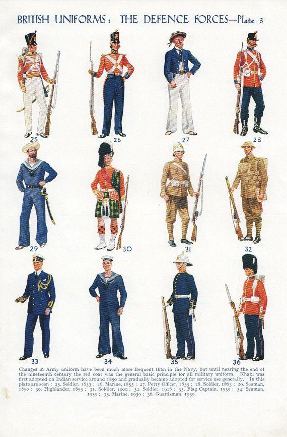 Vintage military uniforms book plate history military uniforms boy bedroom decor via Etsy