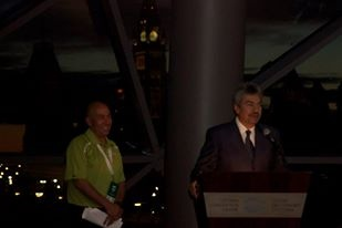 The Mayor of Marathon, Greece, addresses the 2013 Tamarack Ottawa Race Weekend President's Reception.