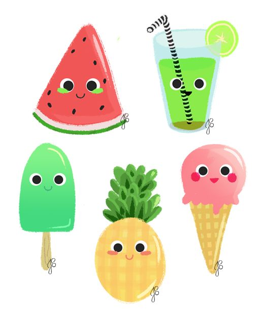 Summer Things on Behance by Artofjess | Illustration | fruits | summer | watermelon | pineapple | juice | cute
