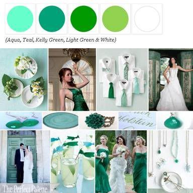 Shades of Green, Aqua, Teal + White xo