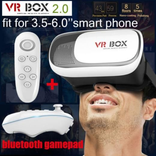 New Google Cardboard 2nd Gen Vr Box Virtual Reality 3d Glasses Bluetooth Control Video Game Systems