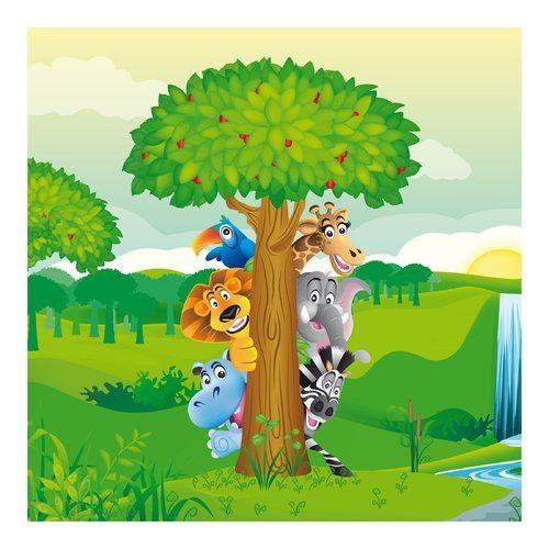Zoomie Kids Furey Zoo Jungle Animals 1.92m x 192cm Wallpaper Roll | Wayfair.co.uk