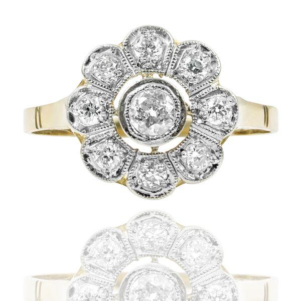 Art Deco Platinum & Diamond Daisy Ring